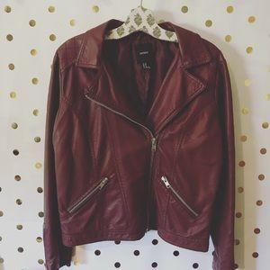 F21 Dark Red Pleather Jacket